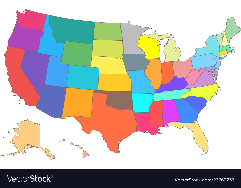 Color usa map with all states
