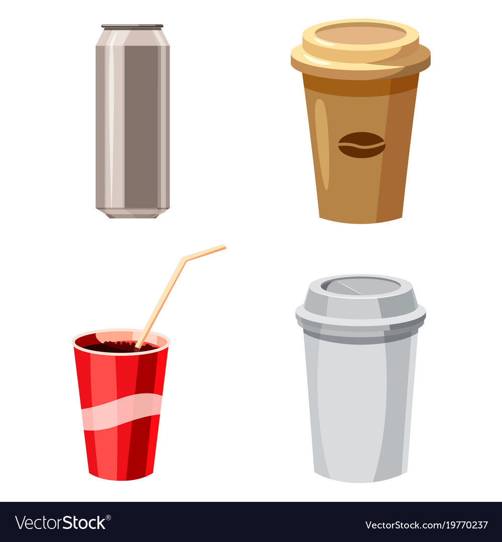 Fast drinks icon set cartoon style