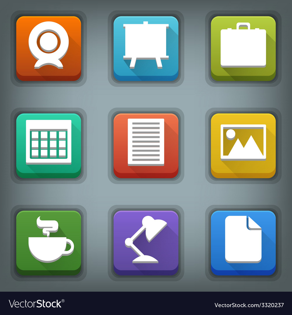 Flat icon set White Symbols Business vector image