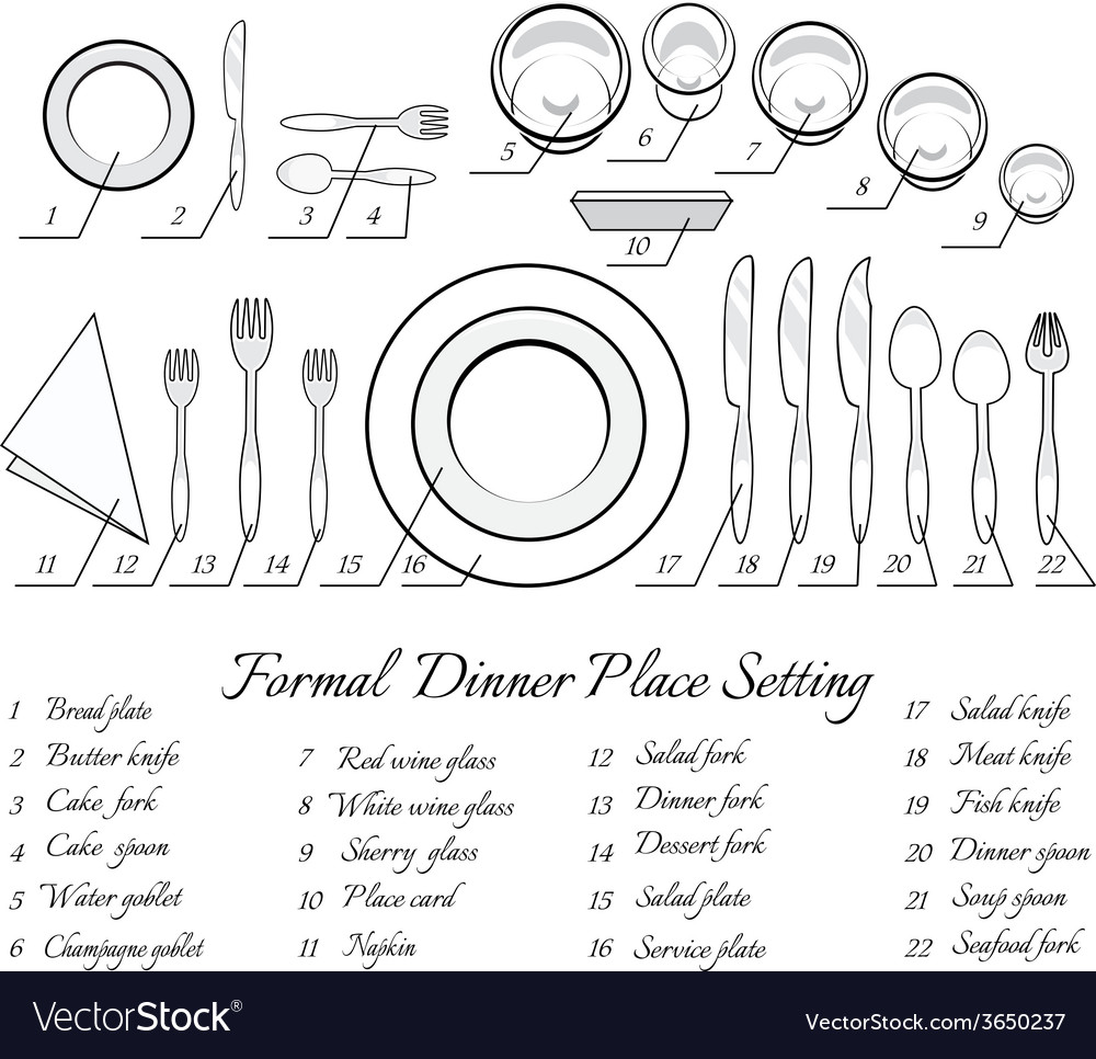 Formal table setting vector image  sc 1 st  VectorStock & Formal table setting Royalty Free Vector Image