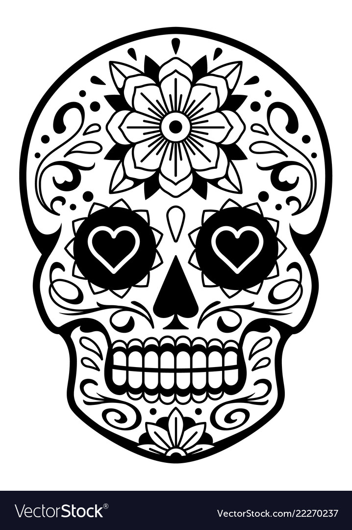 Mexican Skull With Patterns Royalty Free Vector Image