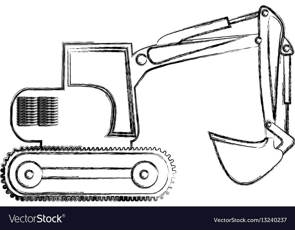 Monochrome contour hand drawing of backhoe vector image