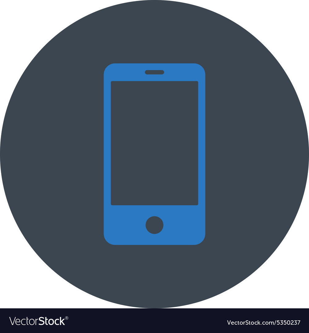 Smartphone flat smooth blue colors round button