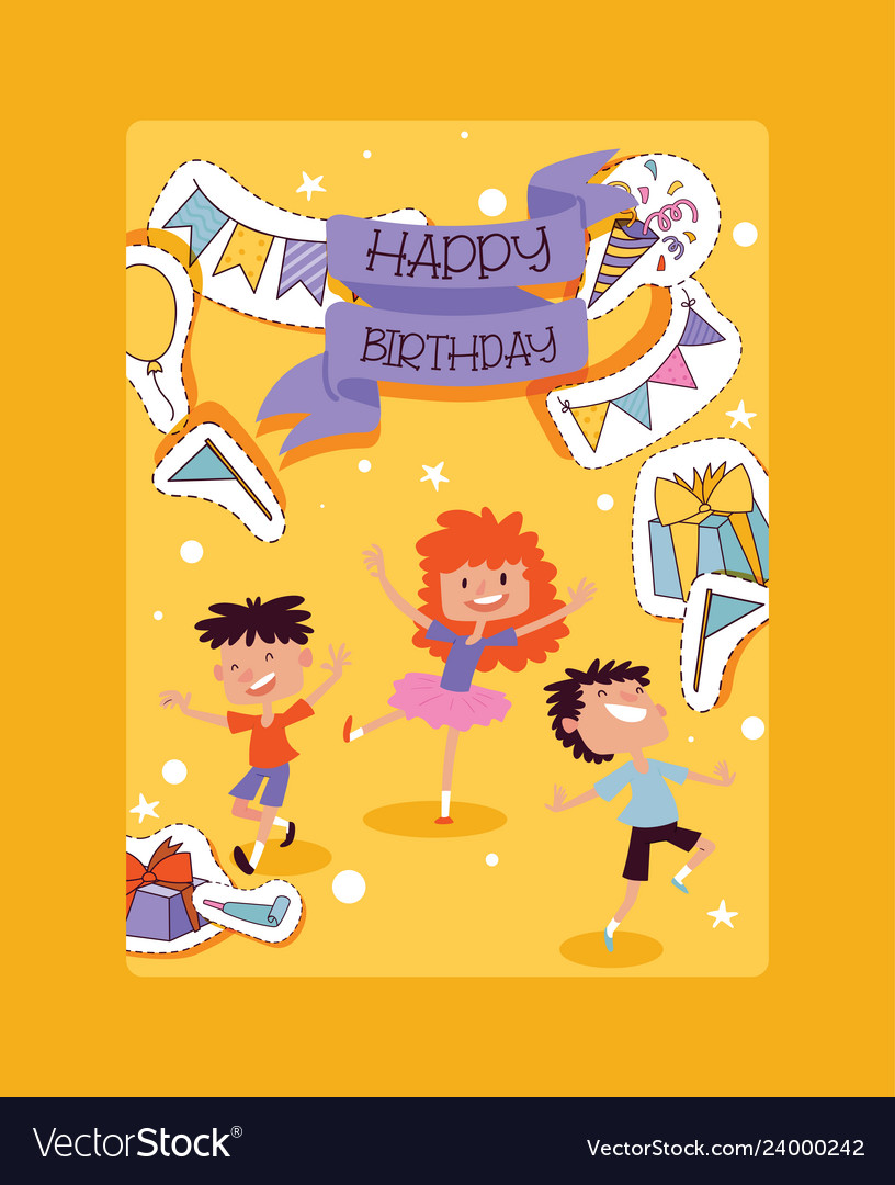 Birthday party pattern children characters and