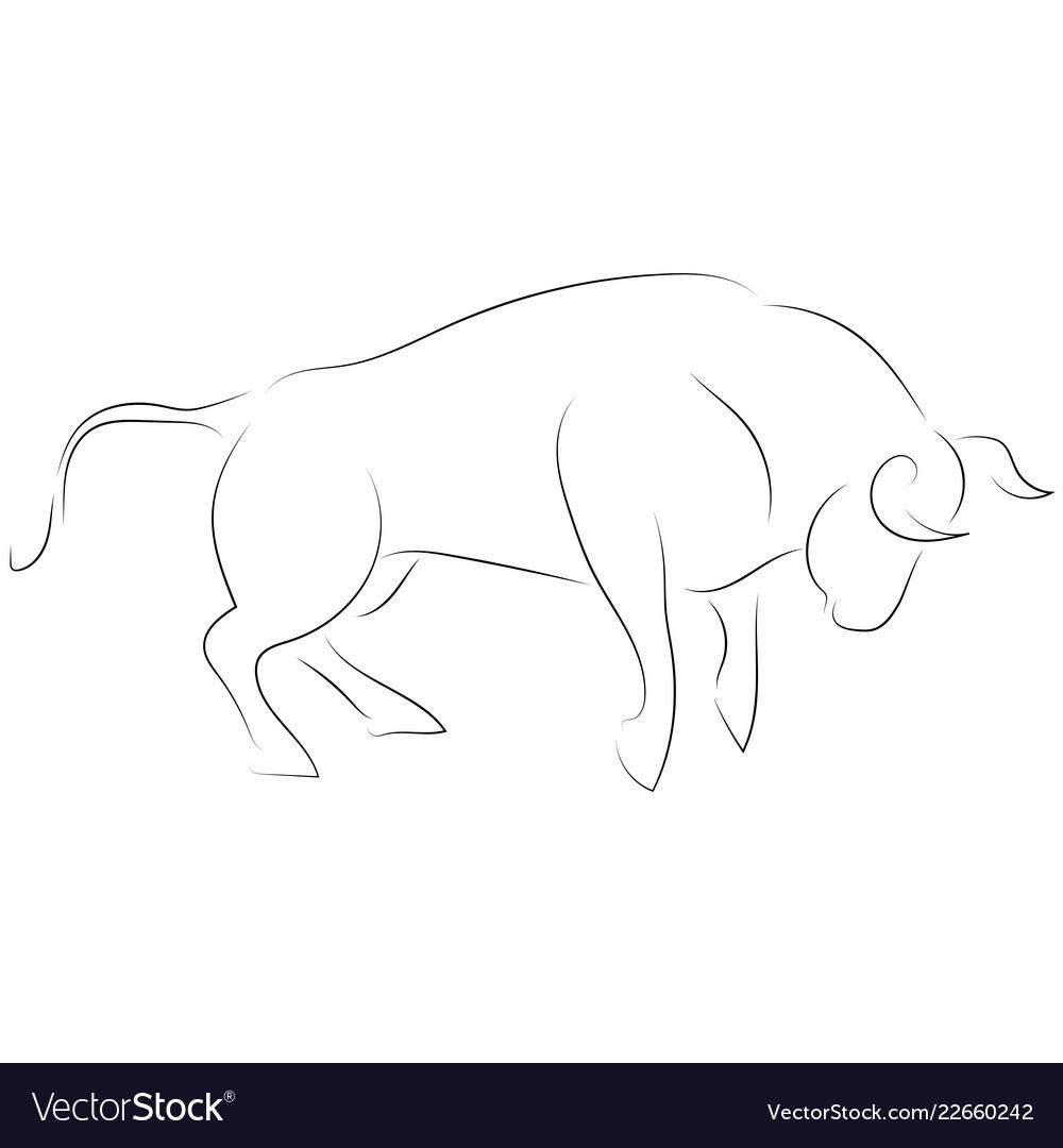 Black line attacking bull on white background