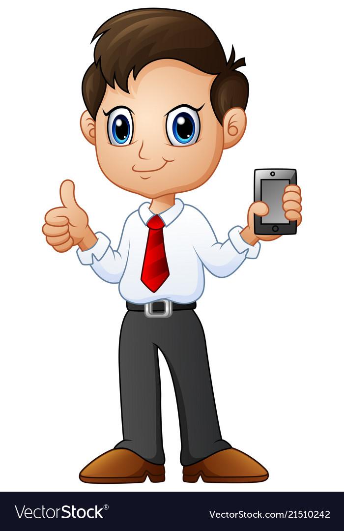 Cartoon businessman holding a smartphone with ok h