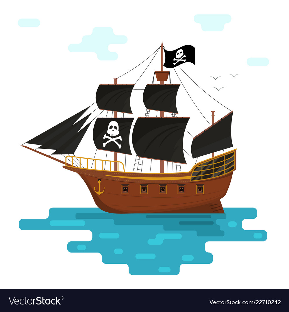 Cartoon pirate ship with black sails Royalty Free Vector