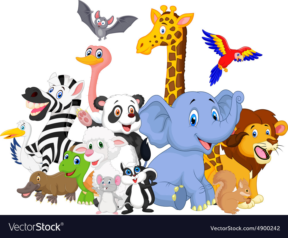 Cartoon wild animals background