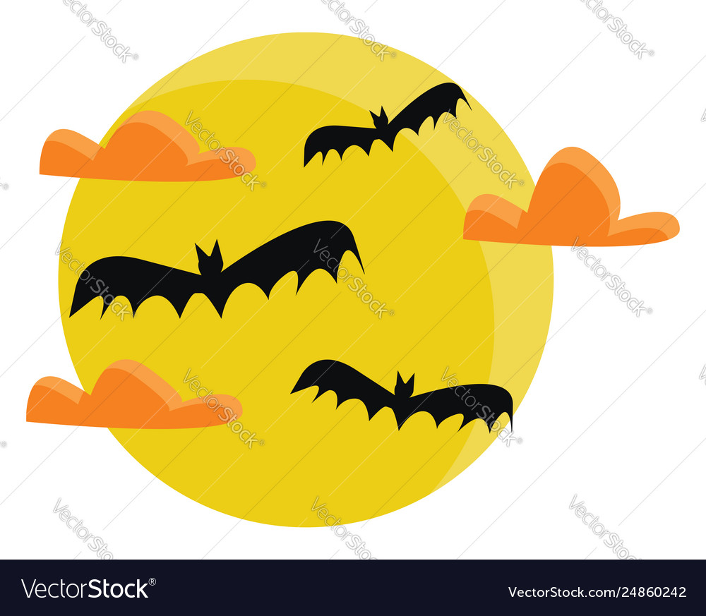 Bat vector. Clipart full moon with