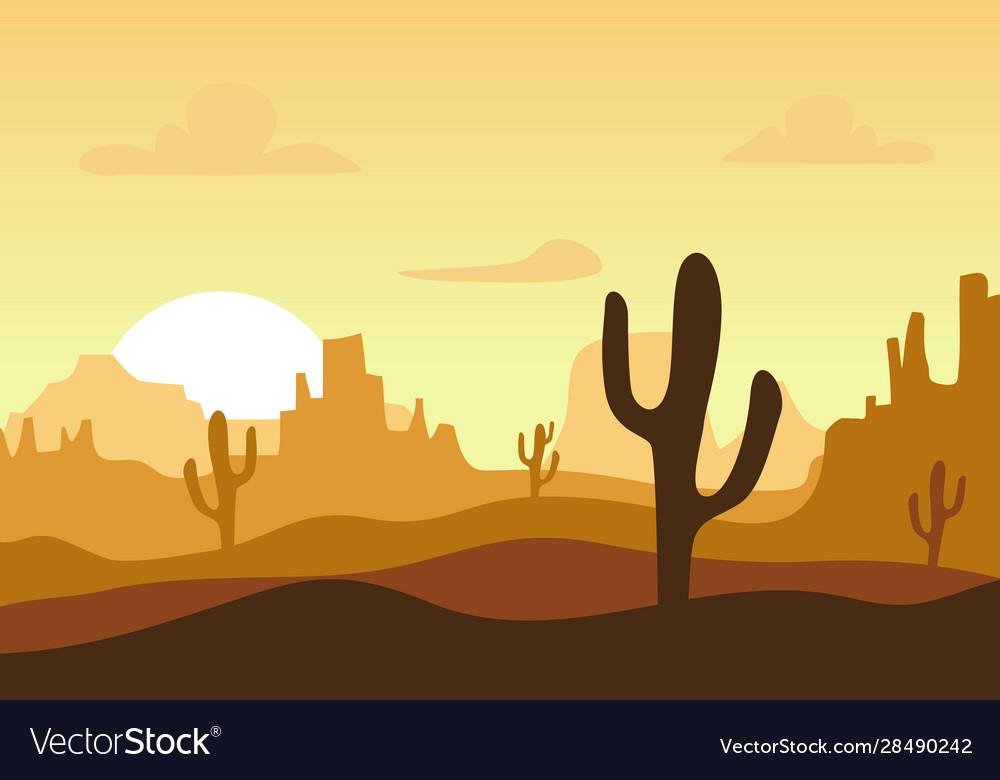 Desert sunset silhouette landscape arizona or