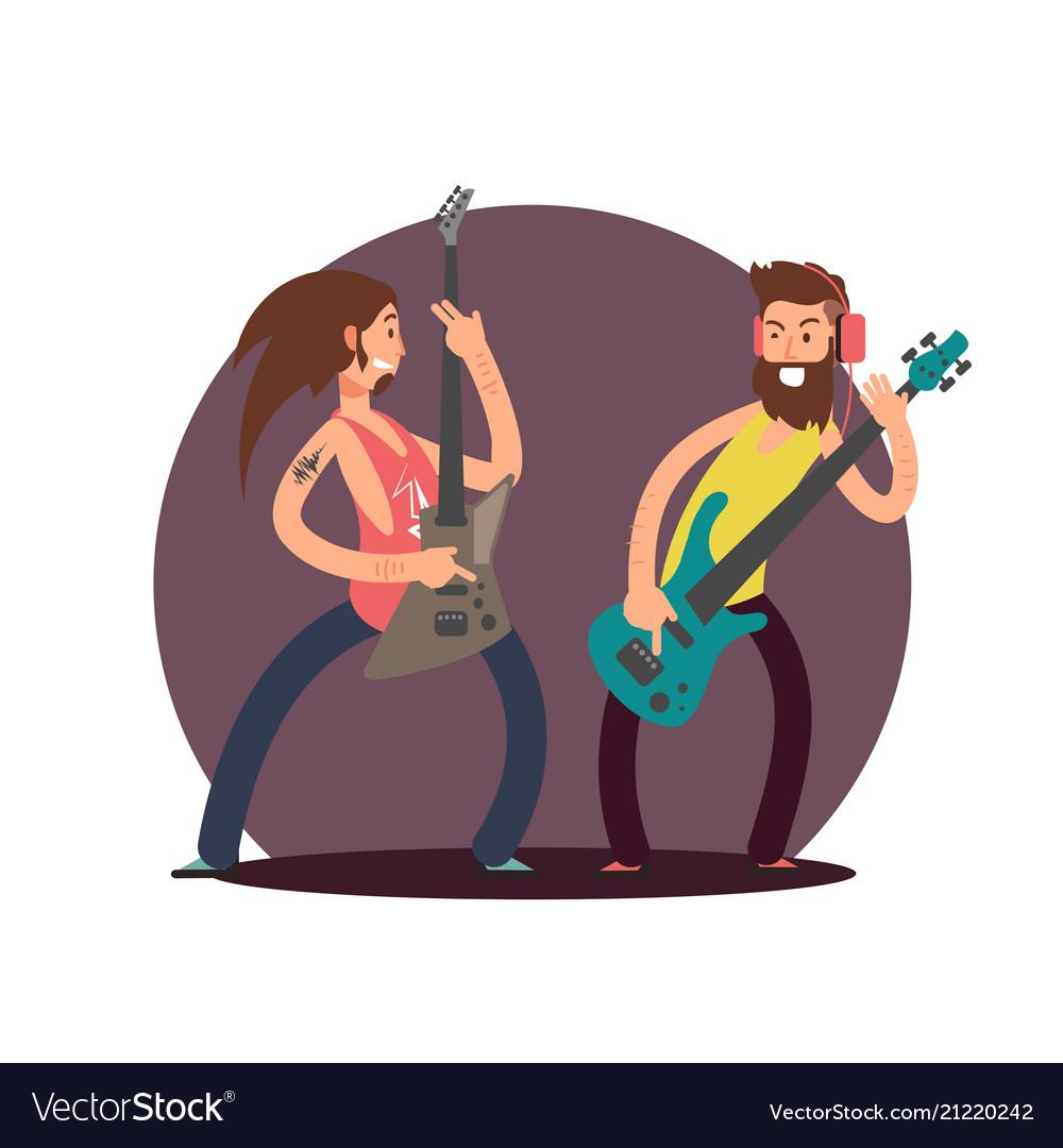 Flat guitarists cartoon character design