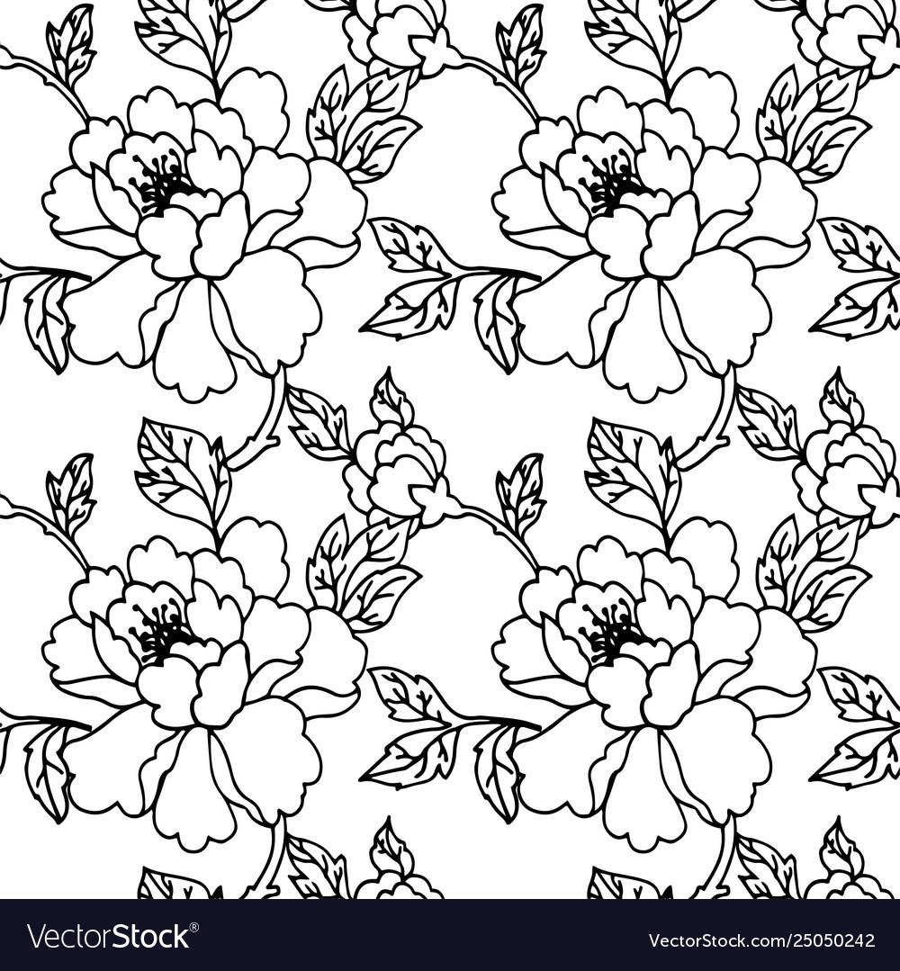 Flower monochrome seamless pattern peony or wild