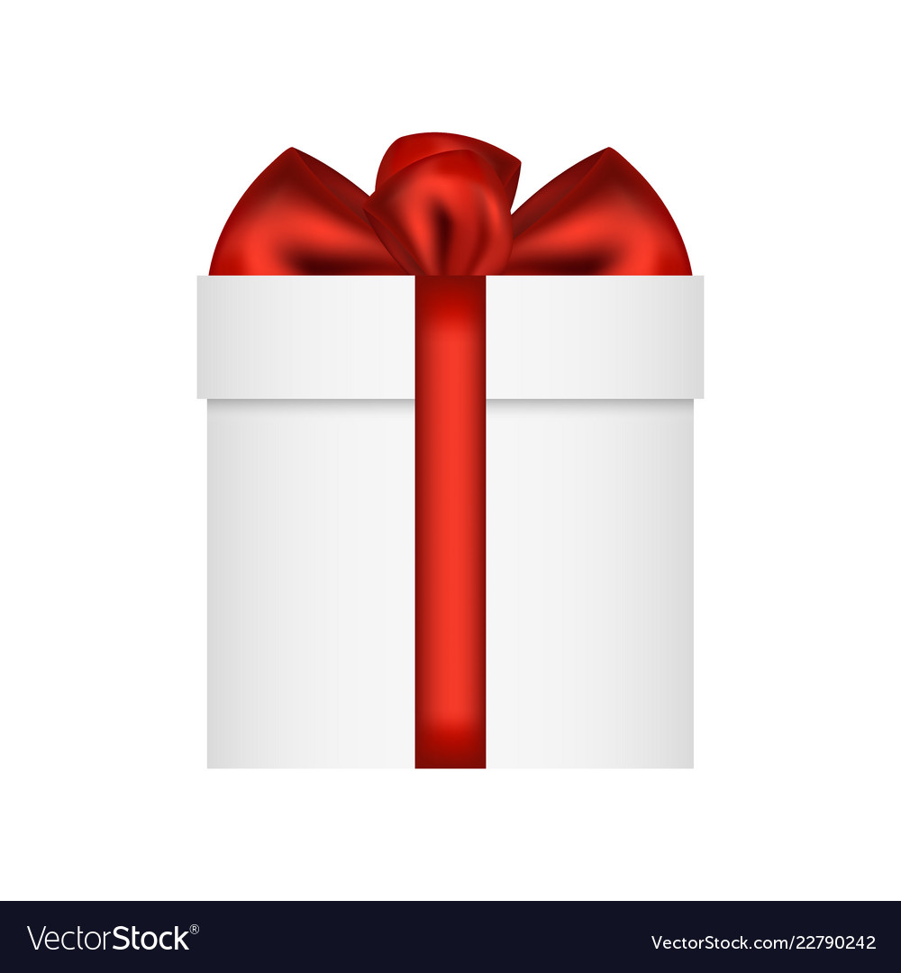 Gift in a box with a red bow