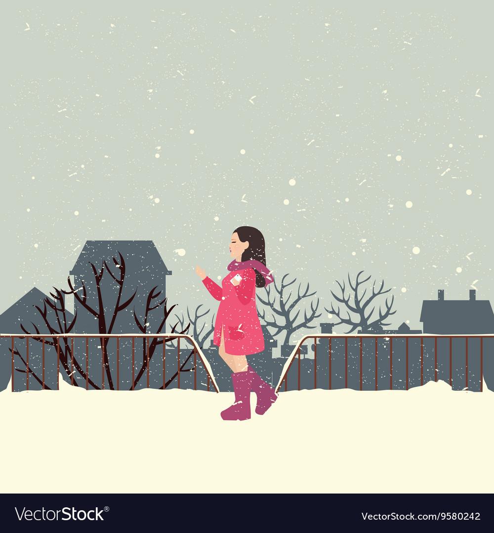 Girls wearing jacket in snow enjoy cold weather