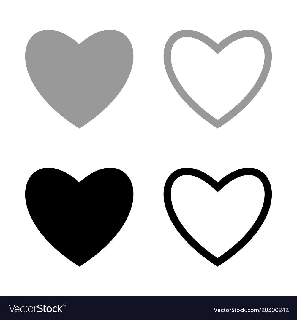 Heart set for valentine days black and grey color