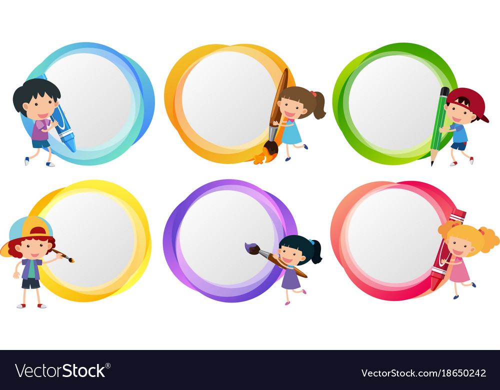 Label templates with kids coloring Royalty Free Vector Image