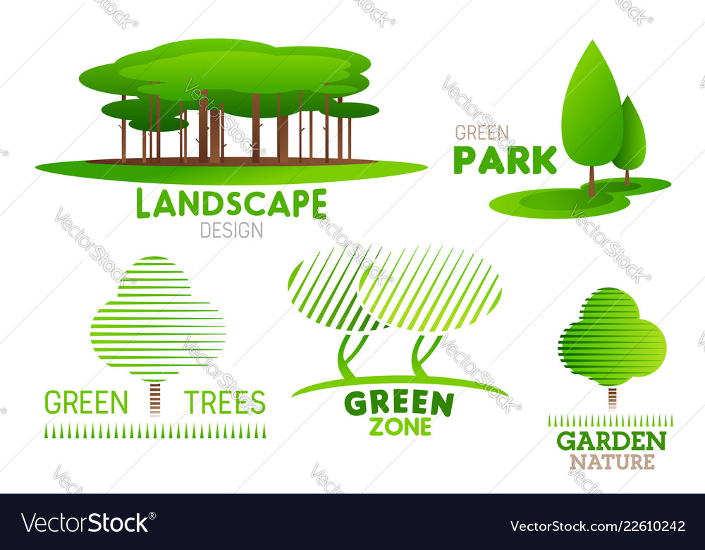Landscaping Design Garden Tree Icons Royalty Free Vector