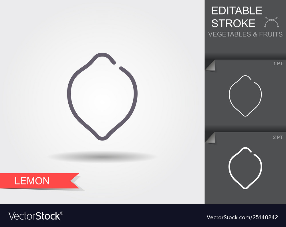 Lemon line icon with editable stroke with shadow