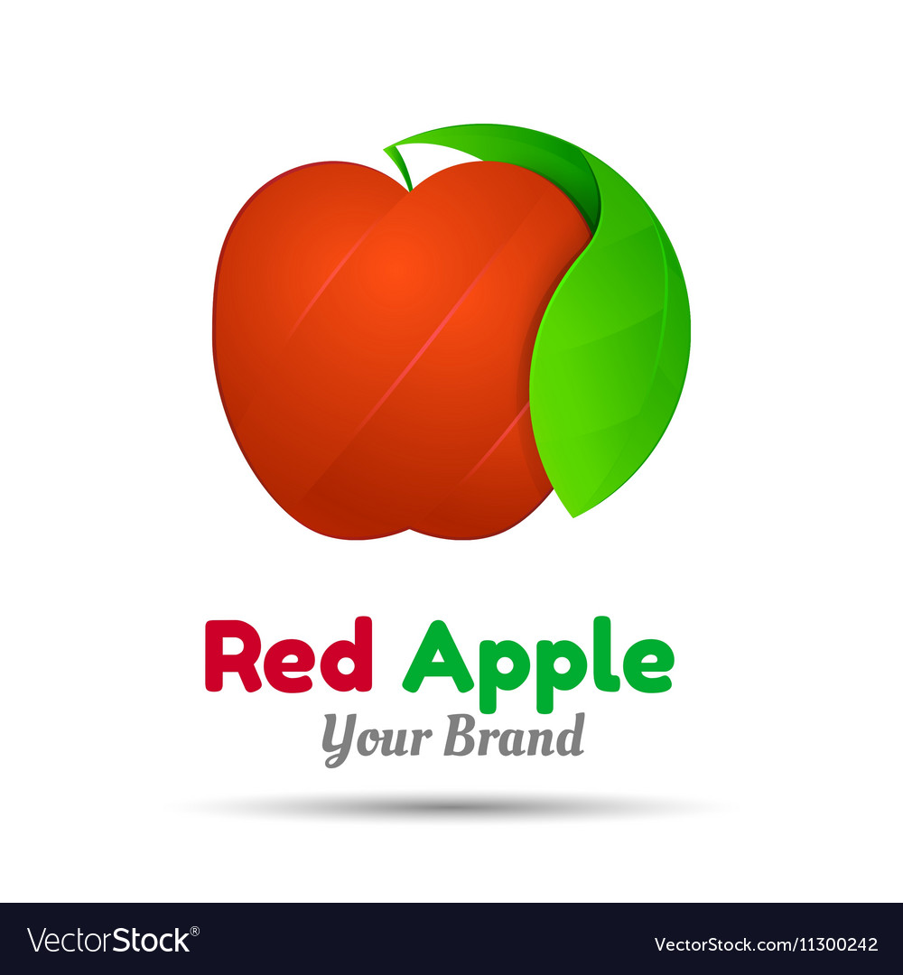 Red apple with two green leaves logo design vector image
