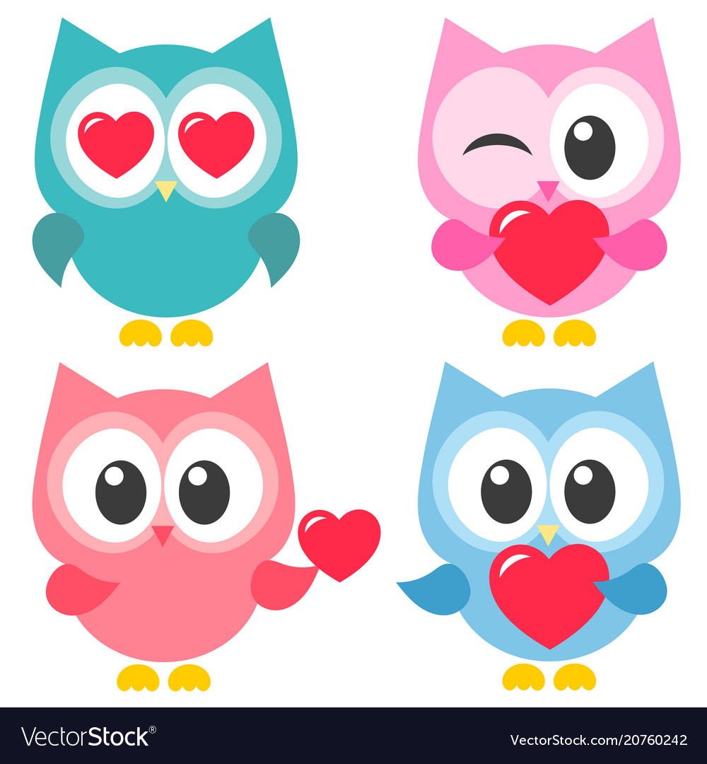 Set of cute colorful owls with hearts