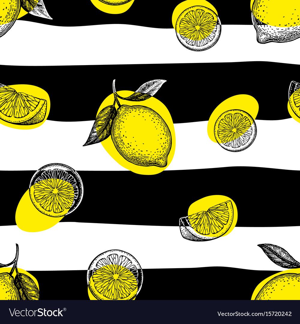 Striped seamless pattern with lemons