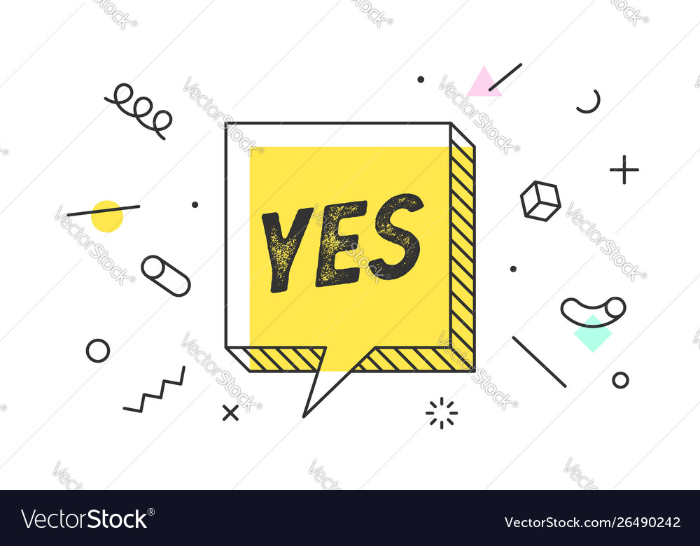 Yes banner speech bubble poster and sticker