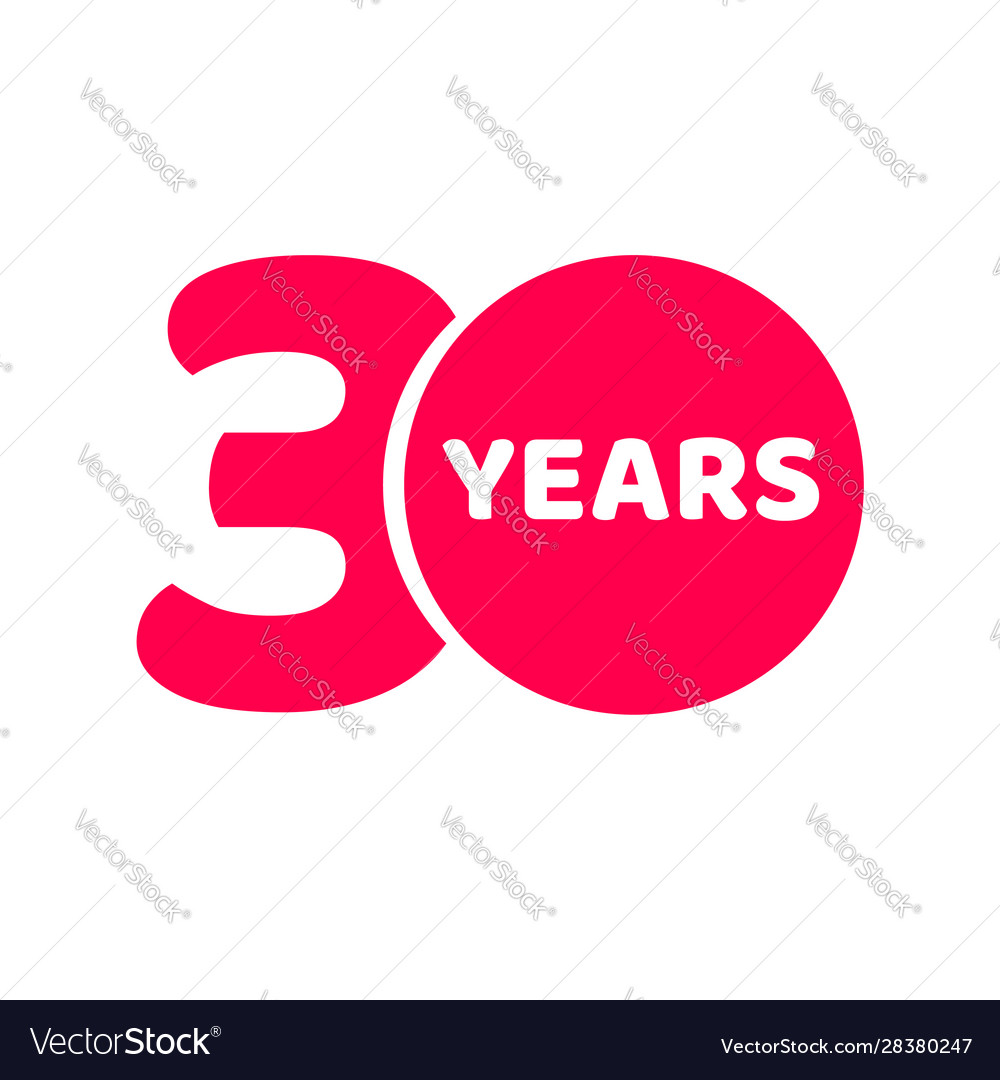 30 years anniversary logo template isolated red