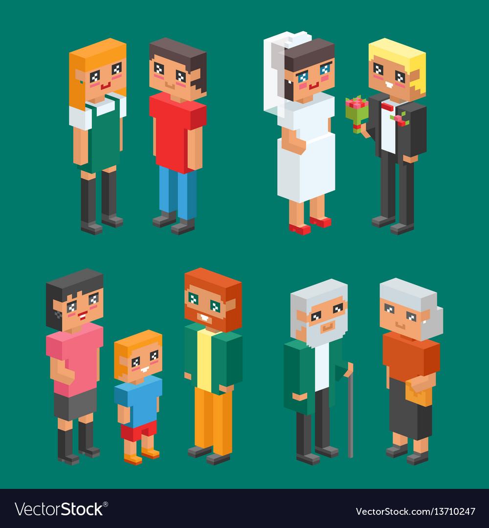 3d isometric family couple children kids people