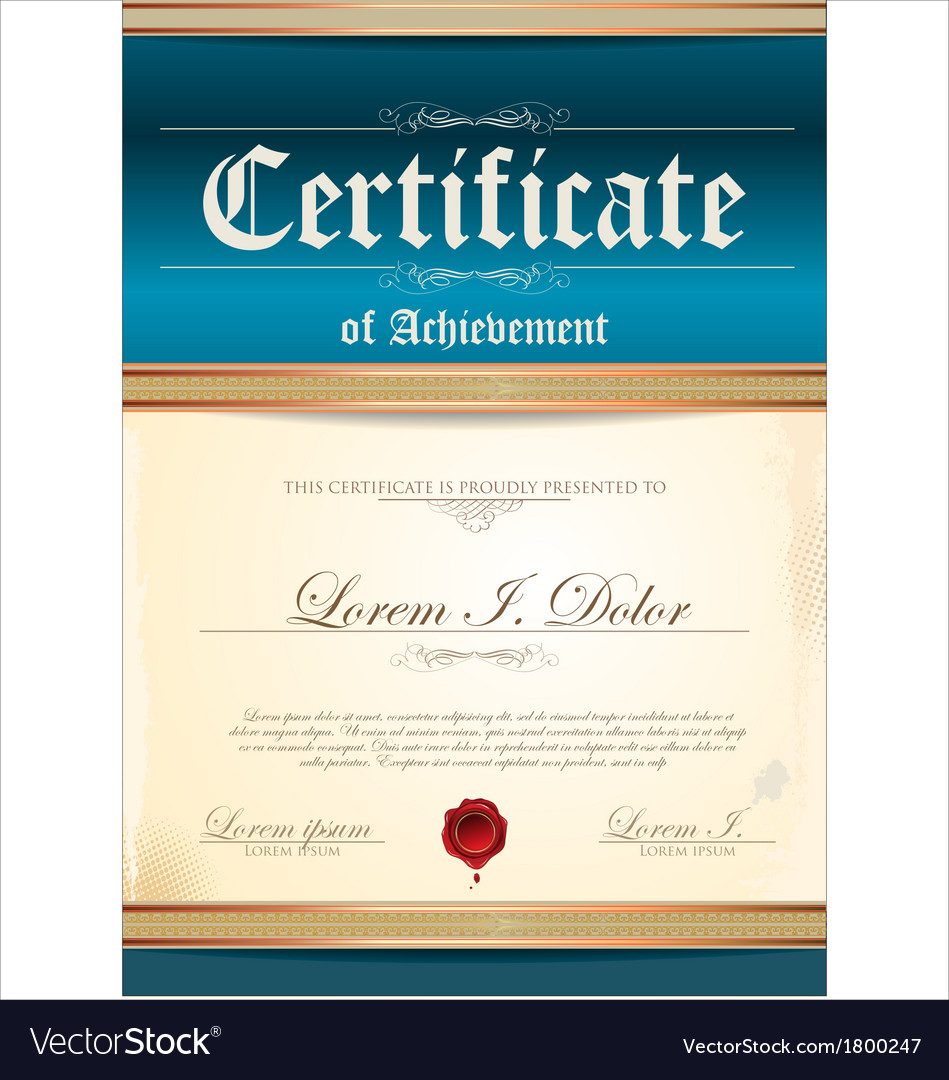 Blue certificate template vector image