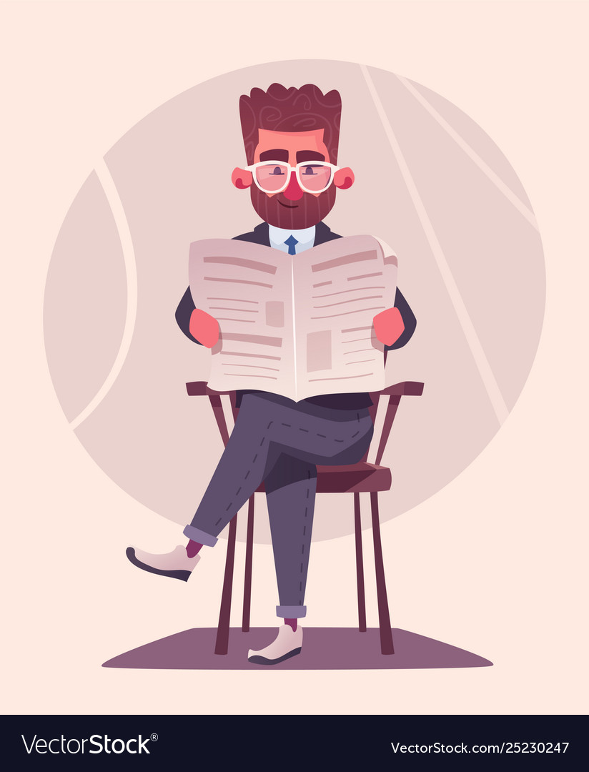 Businessman is reading a newspaper cartoon