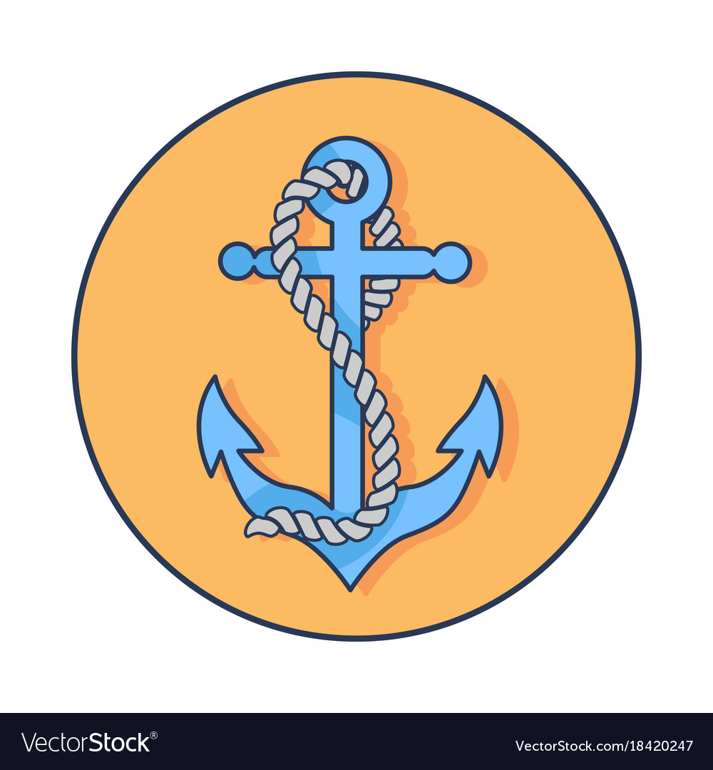 Circle banner depicting anchor with rope around it