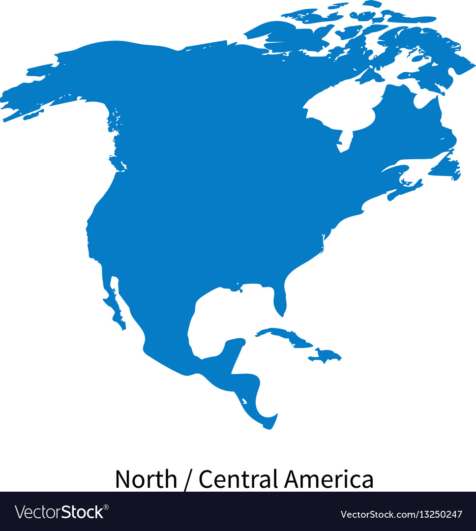 Free Vector Map Of North America.Detailed Map Of North And Central America Vector Image