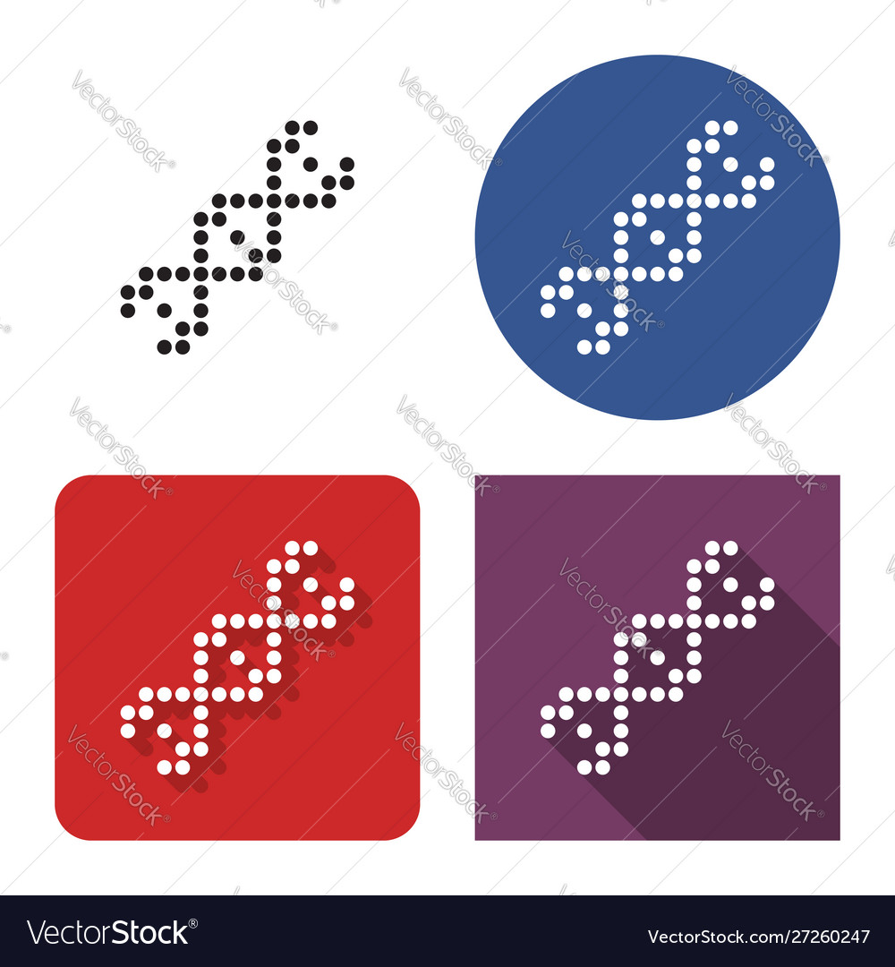 Dotted icon dna helix in four variants with