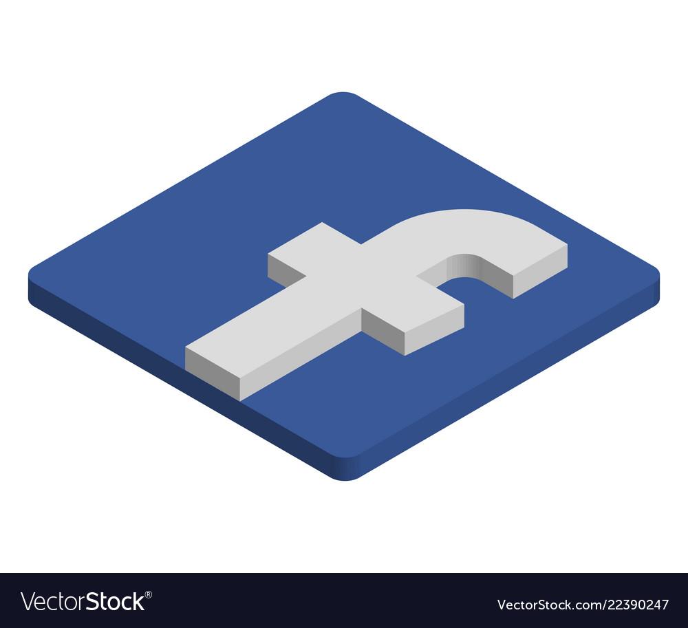 Facebook logo isometric icon