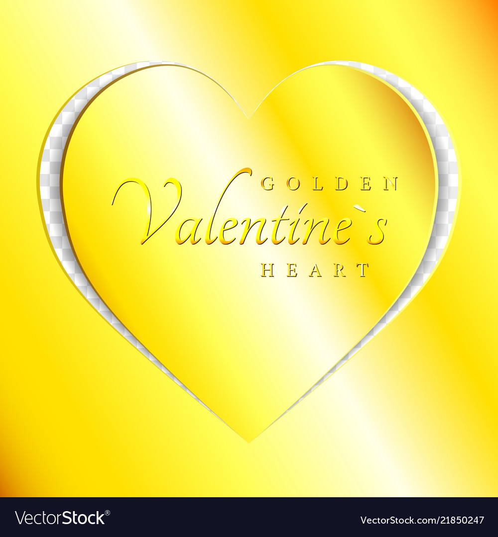 Love golden heart from paper cut style valentines