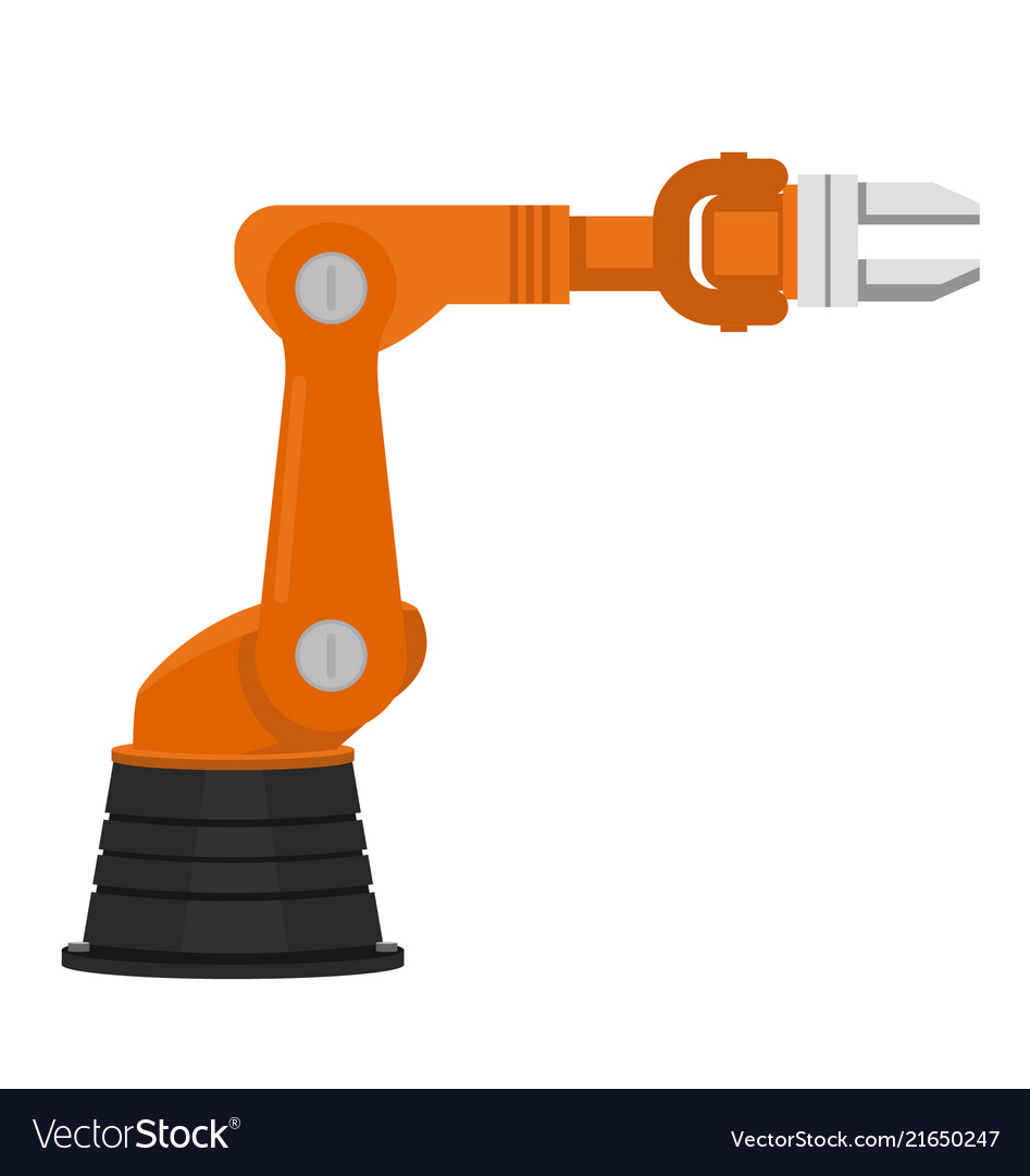 Orange industrial robotic arm for assembly line