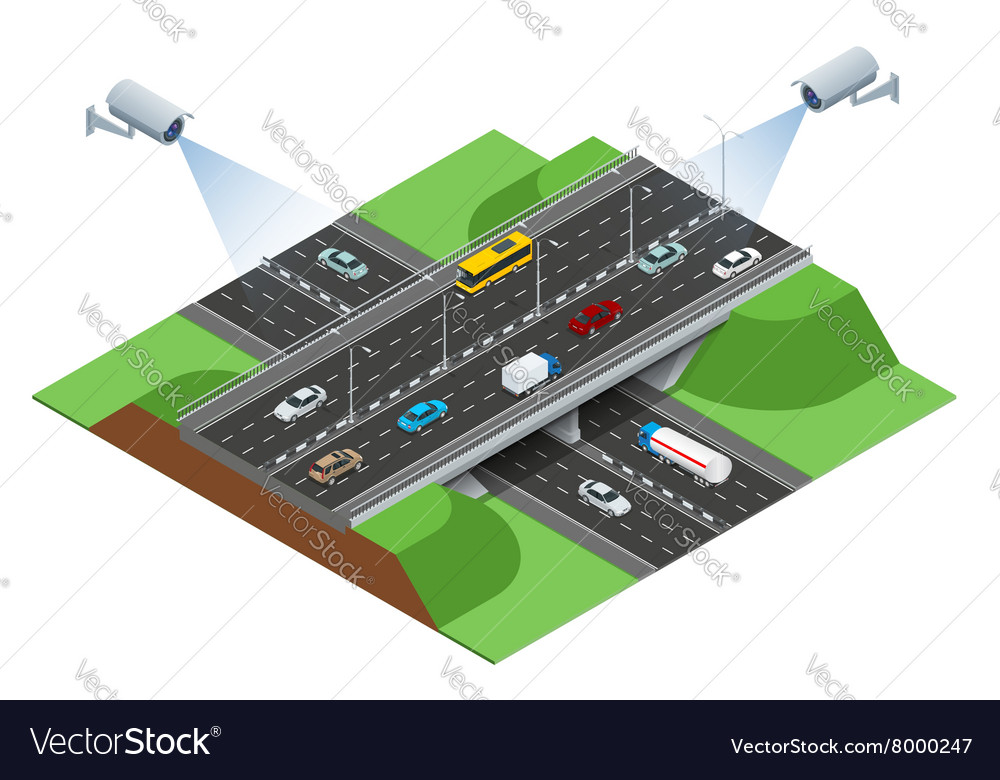 Road infographics with highways with city
