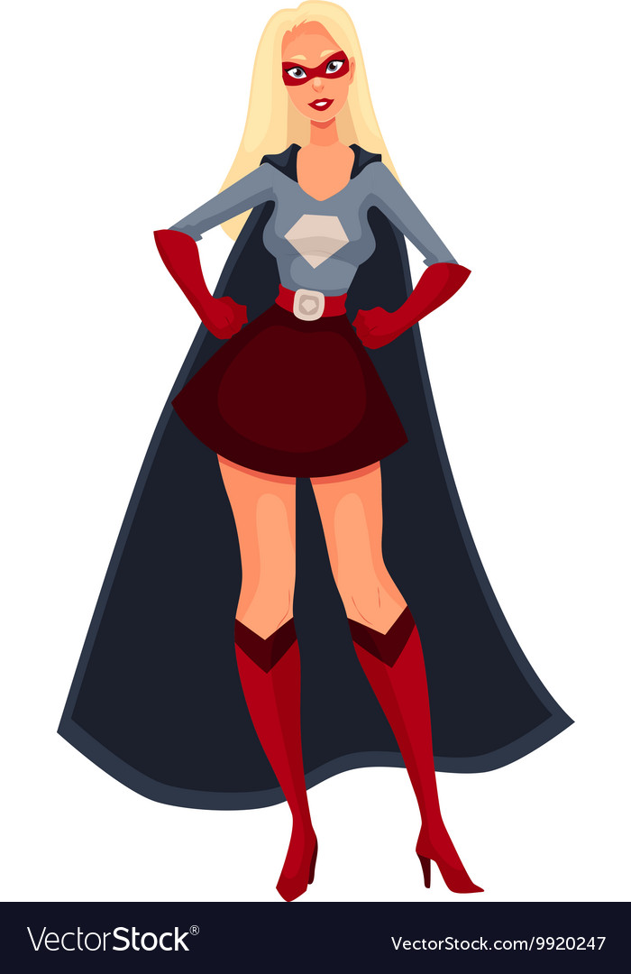 Superhero woman in cape and business suit