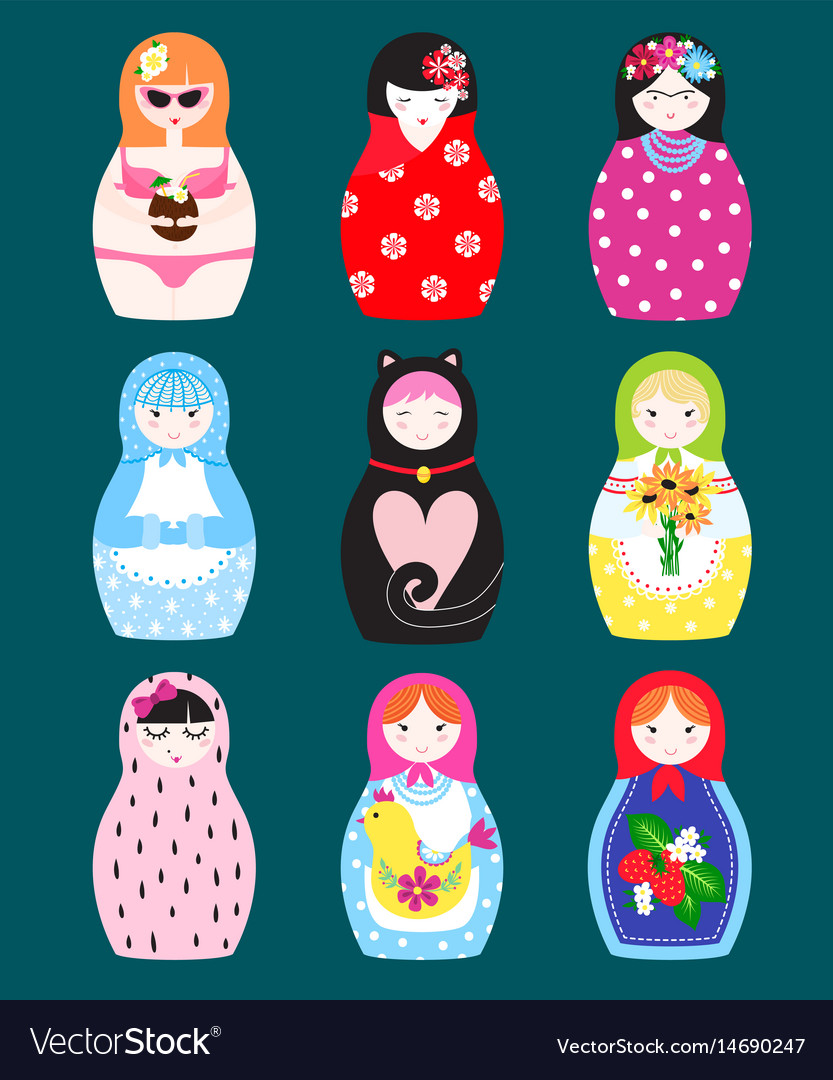 Traditional russian matryoshka toy nesting doll vector image