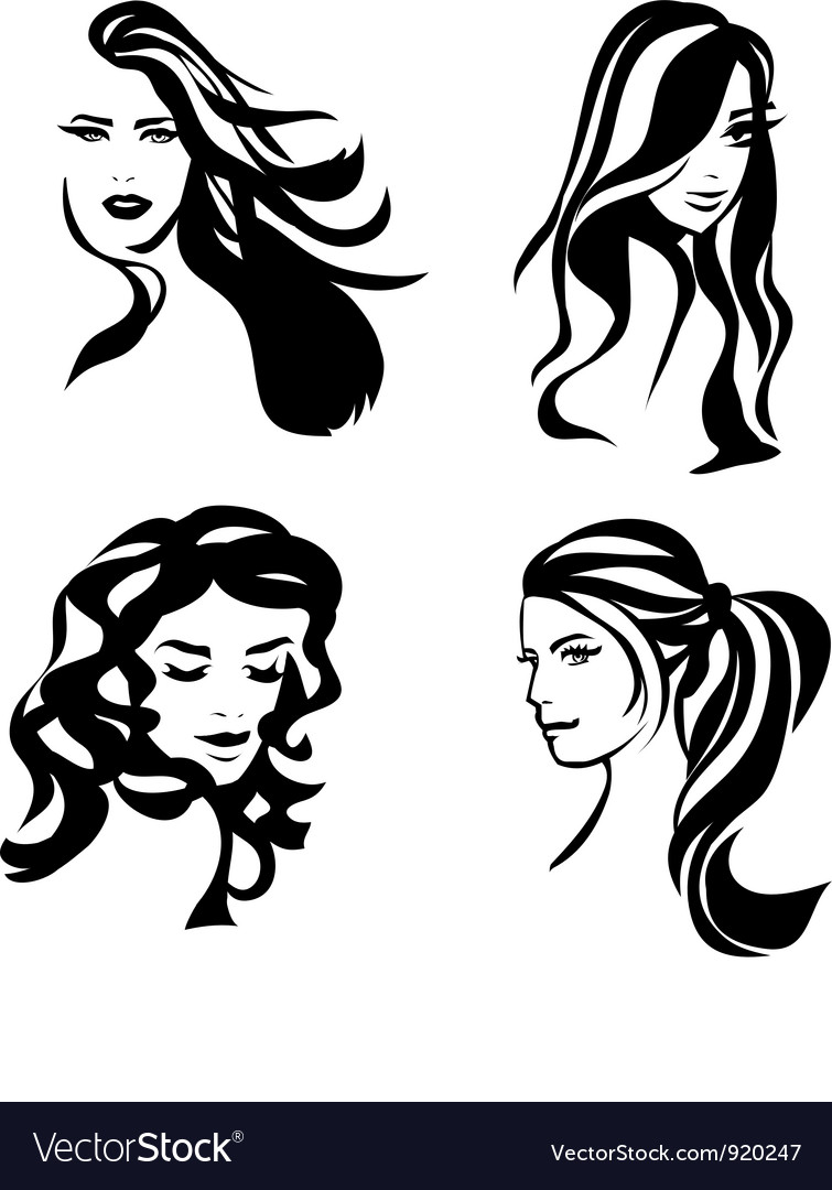 woman hair silhouettes royalty free vector image