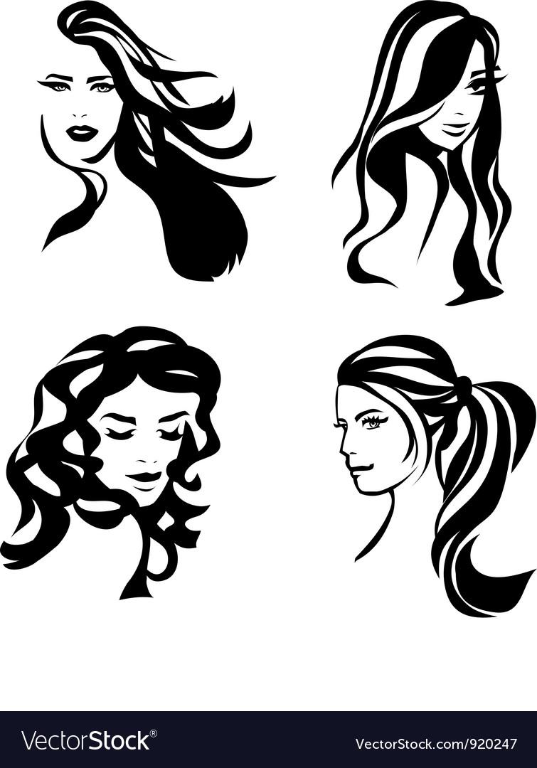 Woman hair silhouettes