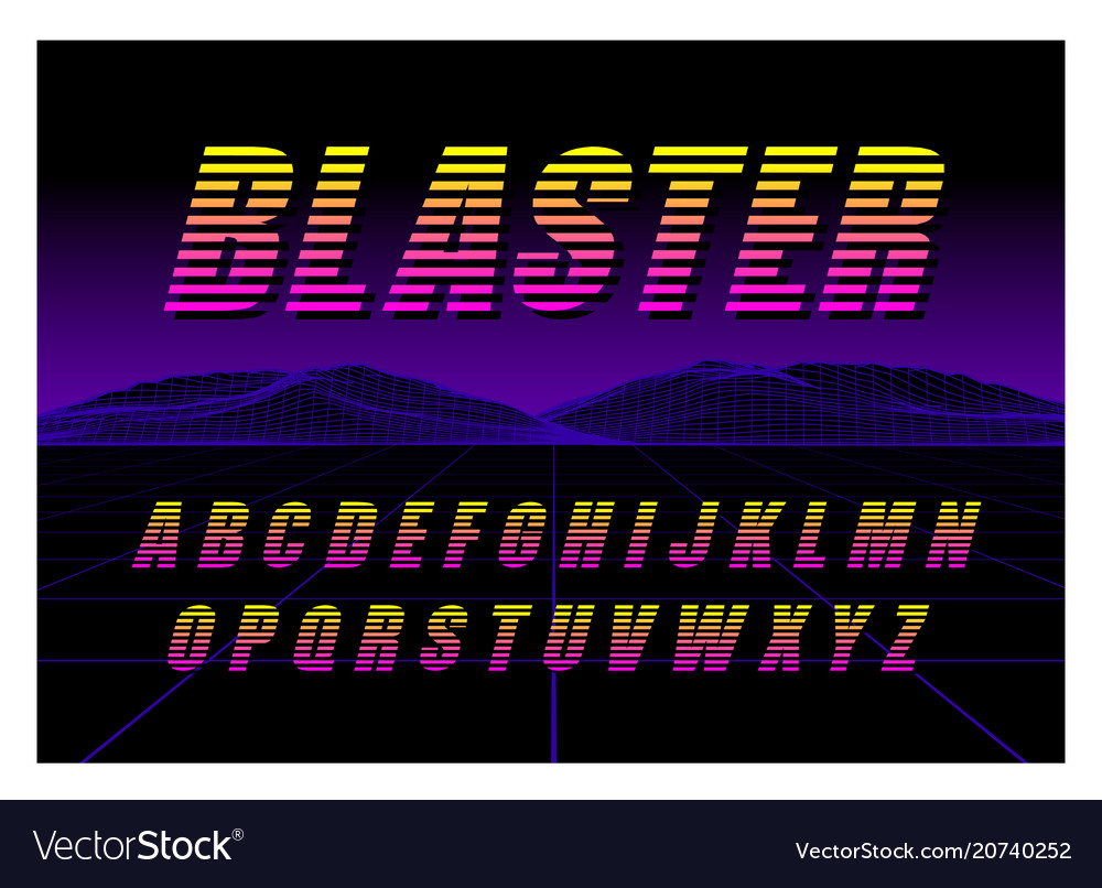 80s retro futurism style font brush stroke