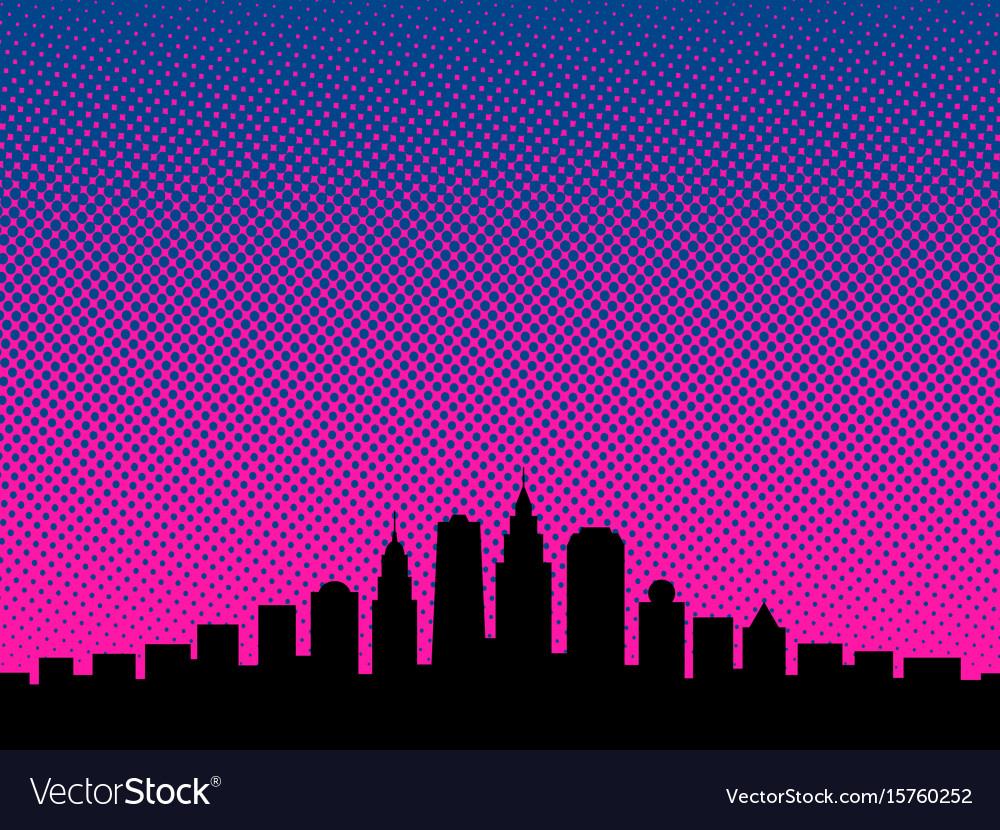 Big city cartoon book style background
