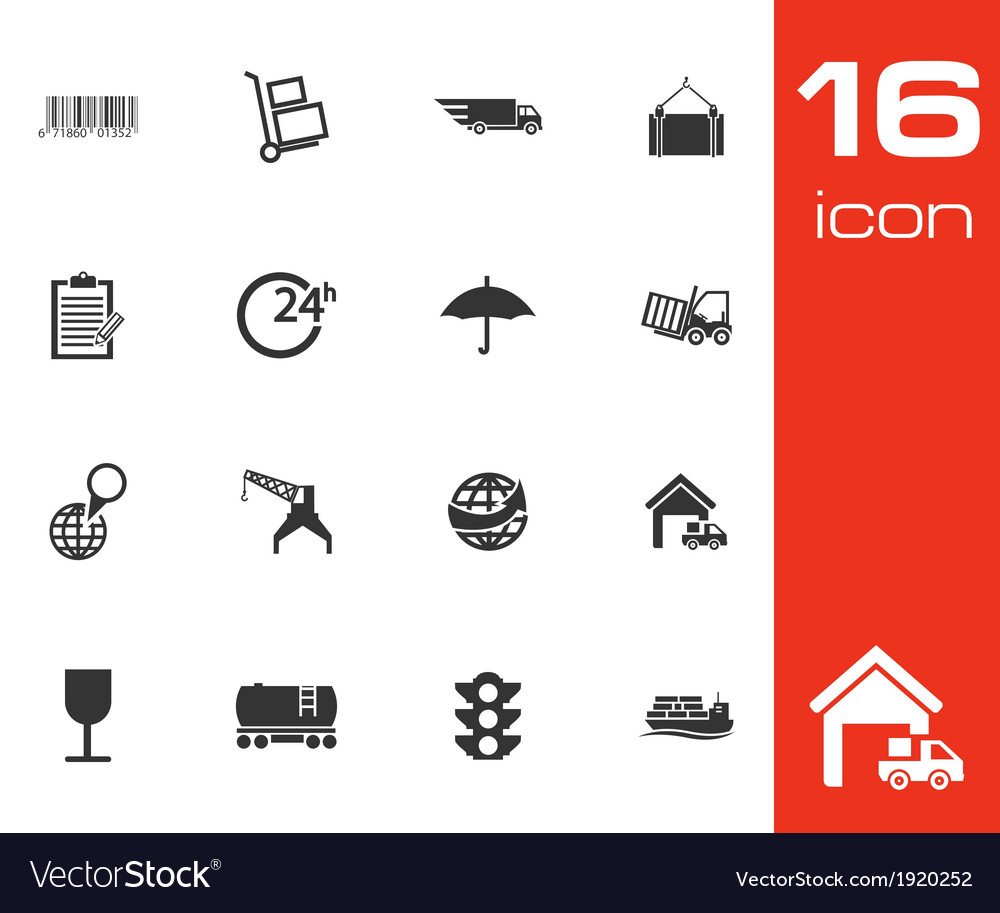 Black logistic icons set