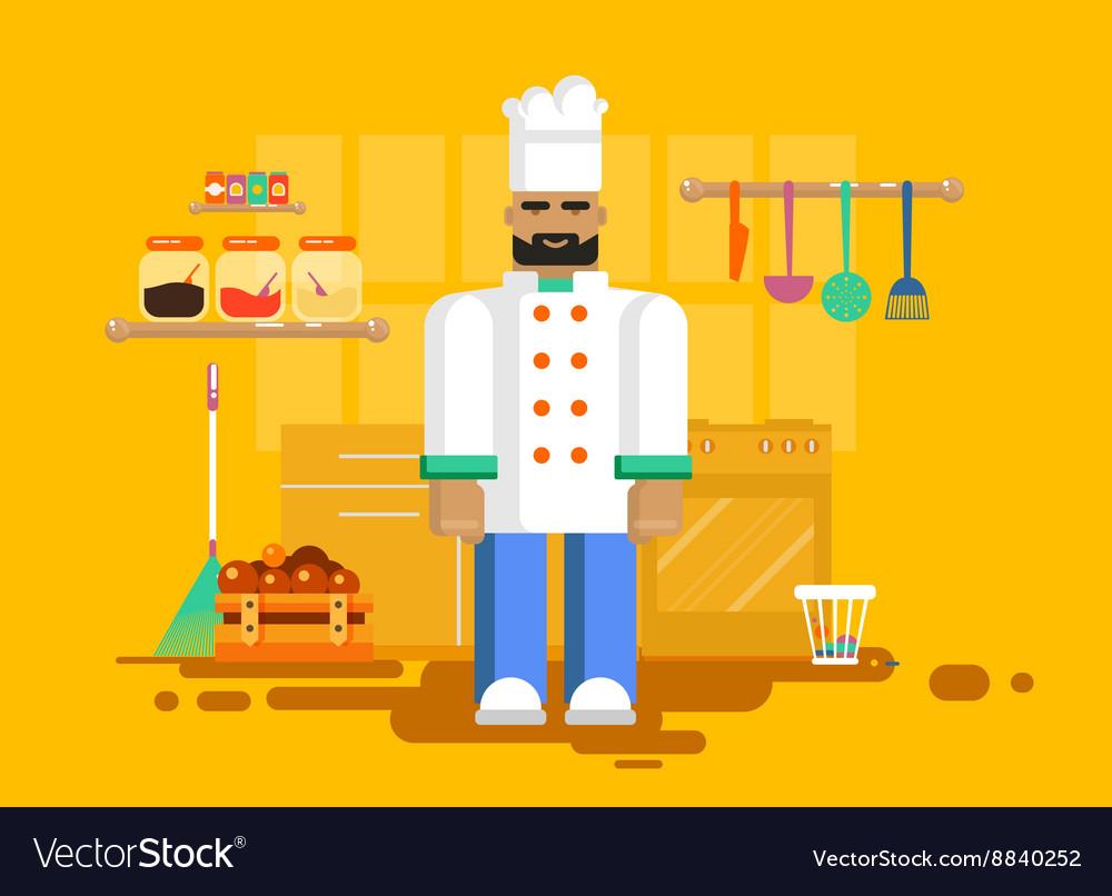 Chef in uniform kitchen utensils furniture