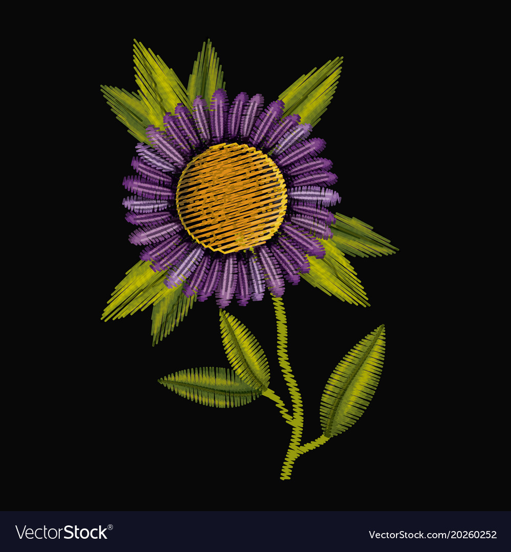Colorful Purple Daisy Flower Plant Embroidery In Vector Image