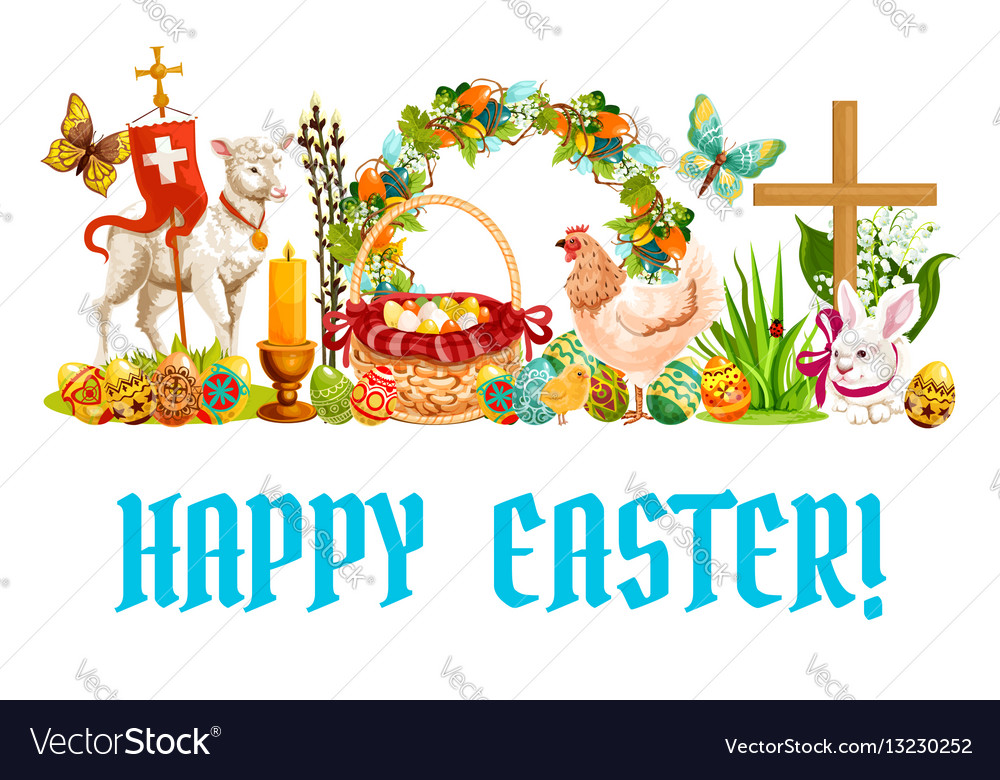 Easter spring holiday cartoon banner design vector image