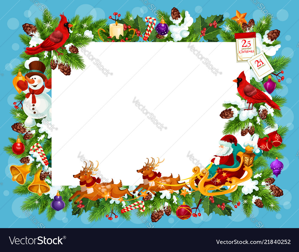 Christmas Greeting Cards.Frame For Christmas Greeting Card With Blank Space