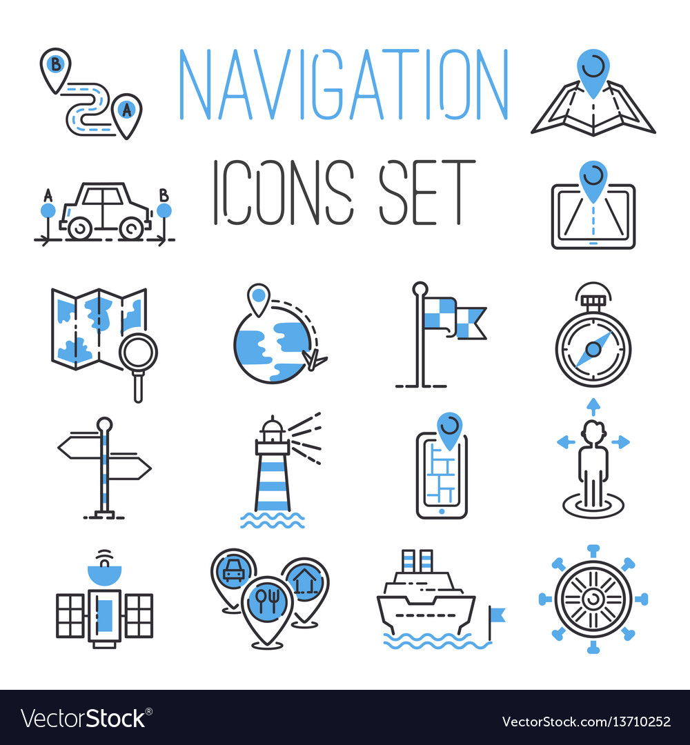 Navigation outline black location pin pictogram vector image