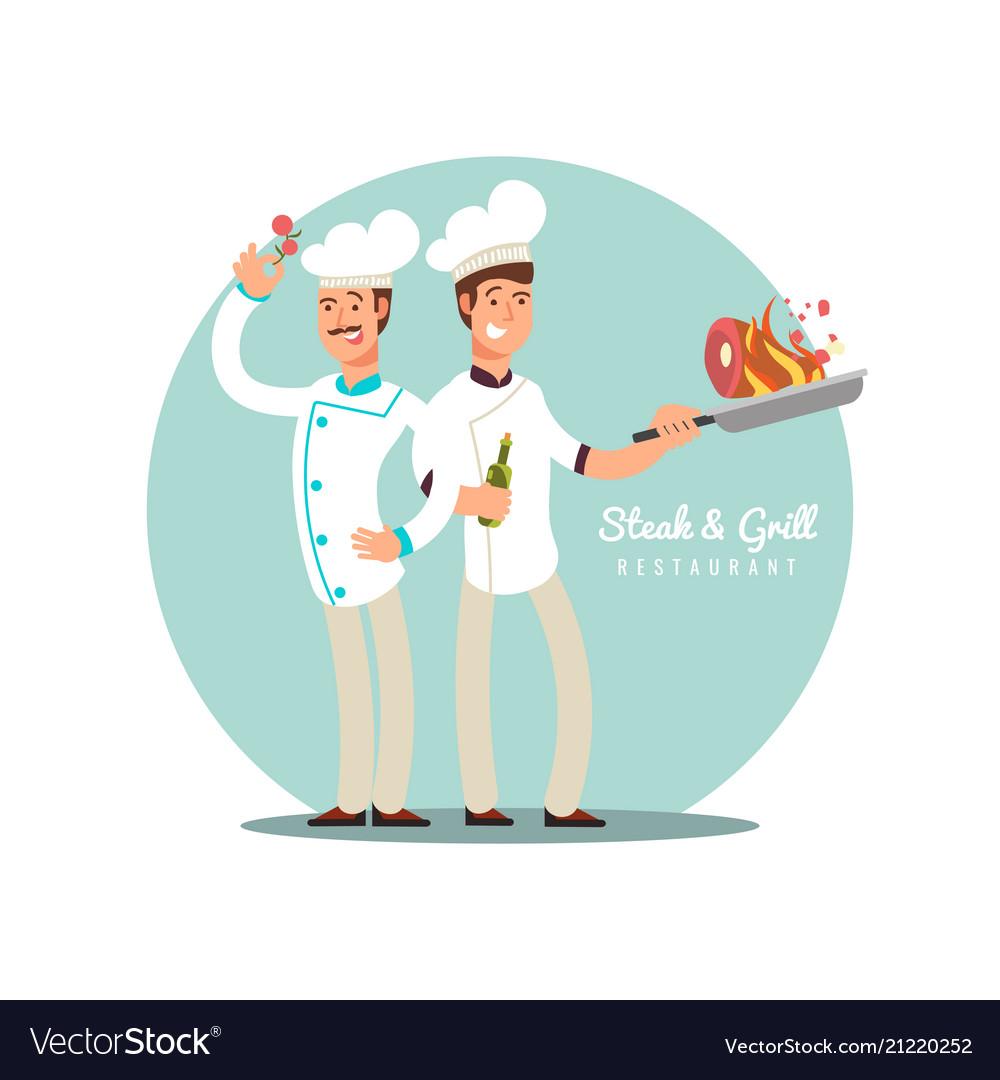Professional chefs flat design happy cooks